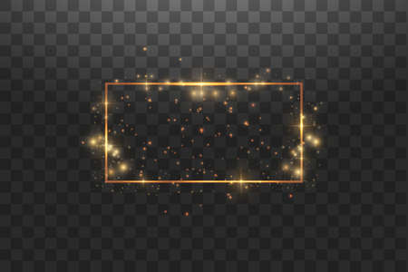 Golden frame with lights effects,Shining luxury banner vector illustration. Glow line golden frame with sparks and spotlight light effects. Shining rectangle banner isolated on black transparent background. Stok Fotoğraf - 127165839