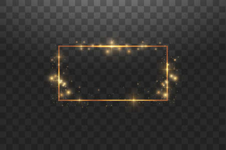 Golden frame with lights effects,Shining luxury banner vector illustration. Glow line golden frame with sparks and spotlight light effects. Shining rectangle banner isolated on black transparent background.