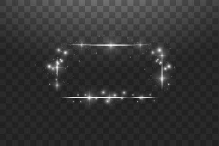 White frame with lights effects,Shining luxury banner vector illustration. Glow line white frame with sparks and spotlight light effects. Shining rectangle banner isolated on black transparent background. Stok Fotoğraf - 127144753