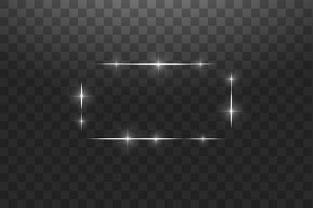 White frame with lights effects,Shining luxury banner vector illustration. Glow line white frame with sparks and spotlight light effects. Shining rectangle banner isolated on black transparent background. Stok Fotoğraf - 127144754