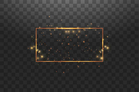 Golden frame with lights effects,Shining luxury banner vector illustration. Glow line golden frame with sparks and spotlight light effects. Shining rectangle banner isolated on black transparent background. Stok Fotoğraf - 127144755