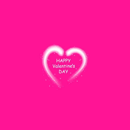 Happy Valentines Day greeting card. I Love You. 14 February. Holiday background with hearts, light, stars on plastic pink background. Vector Illustration.