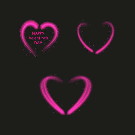 Bright neon heart. Heart sign on dark transparent background. Neon glow effect. Vector. eps 10. Stok Fotoğraf - 127144758