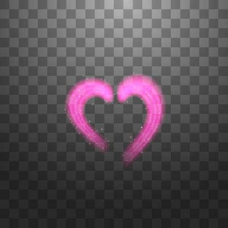 Bright neon heart. Heart sign on dark transparent background. Neon glow effect. Vector. eps 10. Stok Fotoğraf - 127144760