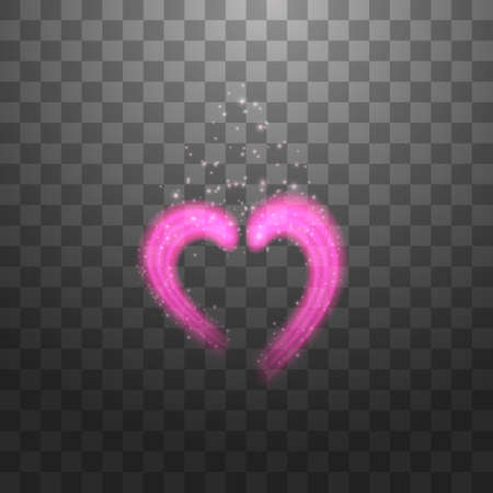 Bright neon heart. Heart sign on dark transparent background. Neon glow effect. Vector. eps 10.
