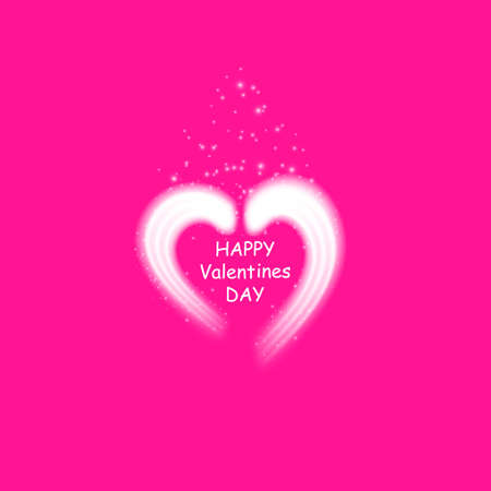 Happy Valentines Day greeting card. I Love You. 14 February. Holiday background with hearts, light, stars on plastic pink background. Vector Illustration. Stok Fotoğraf - 127144763