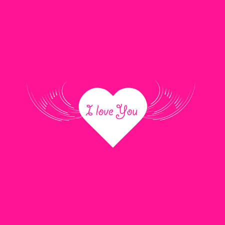 heart angel wings with text I Love You phrase icon illustration isolated vector sign symbol.