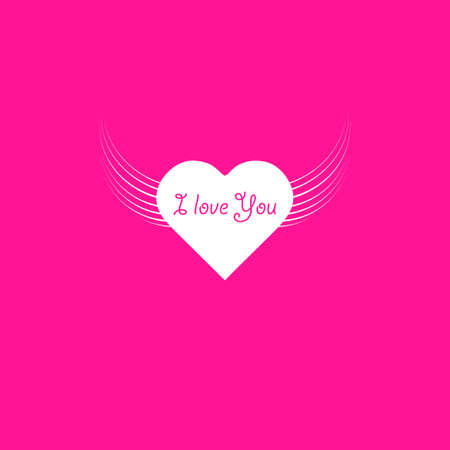 heart angel wings with text I Love You phrase icon illustration isolated vector sign symbol. Stok Fotoğraf - 127098663