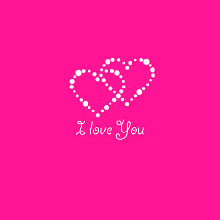 Heart of the lamps on a pink background. Valentines day card. Heart with inscription I Love You. Vector illustration. Stok Fotoğraf - 127098664