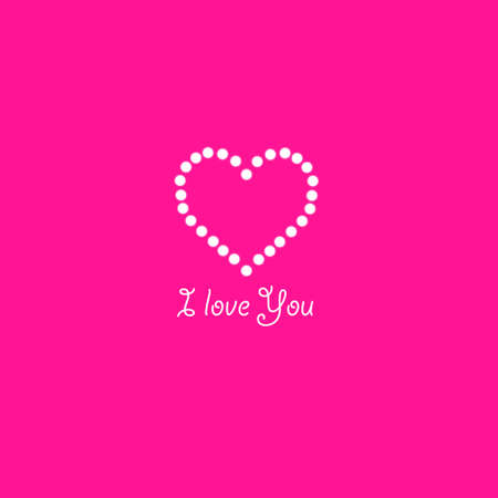 Heart of the lamps on a pink background. Valentines day card. Heart with inscription I Love You. Vector illustration.