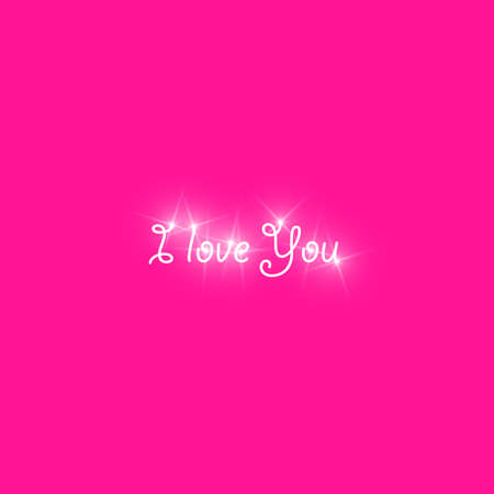 Happy Valentines Day greeting card. I Love You. 14 February. Holiday background with text I Love You phrase., light, stars on plastic pink background. Vector Illustration. Stok Fotoğraf - 127098669
