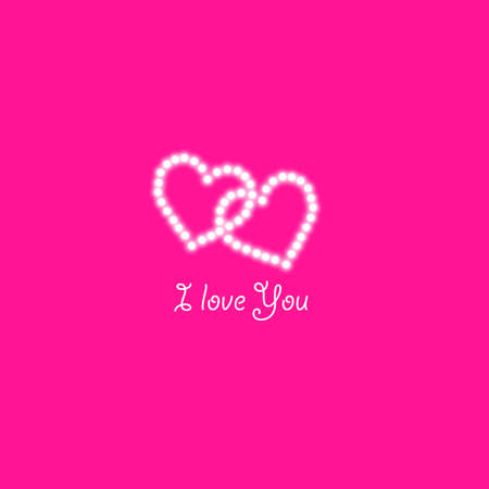 Two Heart of the lamps on a pink background. Valentines day card. Heart with inscription I Love You. Vector illustration.