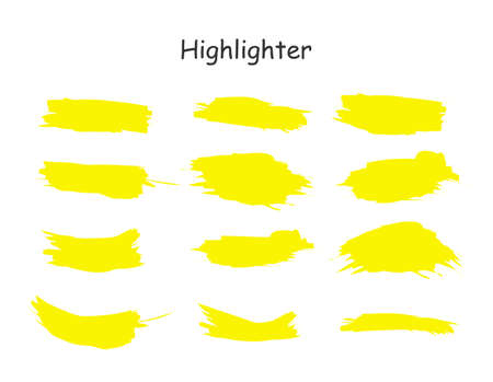 Yellow watercolor hand drawn highlight set. Vector highlighter brush lines. Marker pen highlight underline strokes.