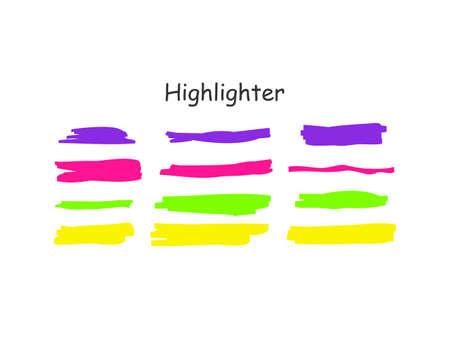 Highlight brush stroke set. Vector color marker pen lines. Yellow, pink, purple, green underline hand drawn highlight strokes on white background.