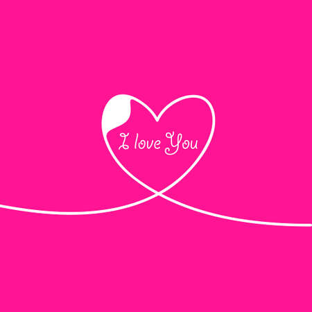 Outline Valentines day for Design, Website, Background, Banner. Heart Silhouette for greeting card or Premium flyer. Best gift. Valentines card with line heart and I Love You phrase. Vector.
