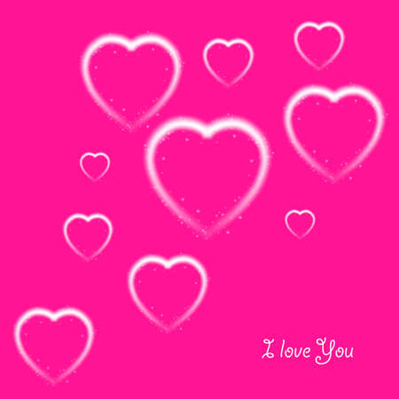 Happy Valentines Day greeting card. I Love You. 14 February. Holiday background with hearts and I Love You phrase., light, stars on plastic pink background. Vector Illustration. Ilustração