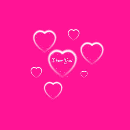 Happy Valentines Day greeting card. I Love You. 14 February. Holiday background with hearts and I Love You phrase., light, stars on plastic pink background. Vector Illustration. Ilustrace