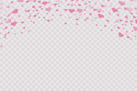 Heart confetti falling down isolated. Valentines day concept. Heart shapes overlay background. Vector festive illustration. Vector. Valentines Day background. Ilustração