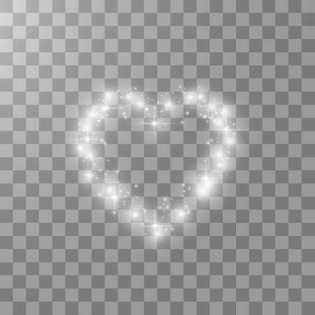 Hearts with light, stars on transparent background. Vector Illustration.