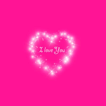 Happy Valentines Day greeting card. I Love You. 14 February. Holiday background with hearts with arrow, light, stars on transparent background. Vector Illustration. eps 10 Ilustração