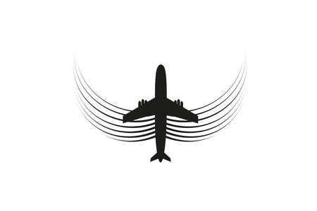 The plane with wings flies on the line. Tourism and travel. The waypoint is intended for a tourist trip. and his track on a white background. Vector illustration.