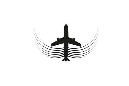 The plane with wings flies on the line. Tourism and travel. The waypoint is intended for a tourist trip. and his track on a white background. Vector illustration. Reklamní fotografie - 125512909