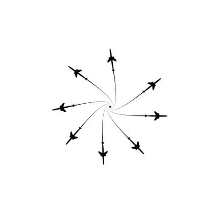 The planes flies on the line. Tourism and travel. The waypoint is intended for a tourist trip. and his track on a white background. Vector illustration