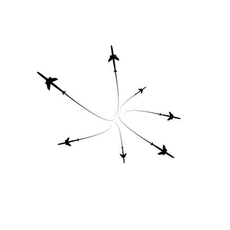 The planes flies on the line. Tourism and travel. The waypoint is intended for a tourist trip. and his track on a white background. Vector illustration.