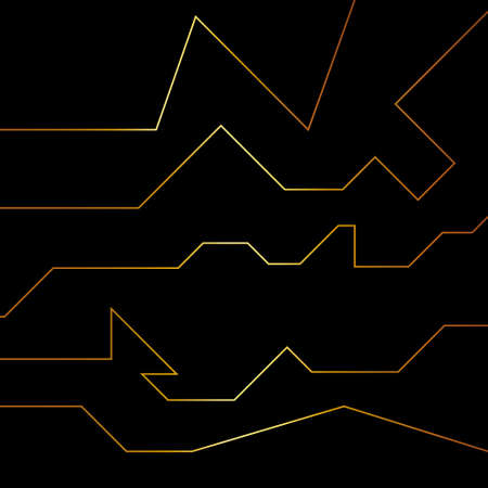 Seamless vector futuristic dark iron techno texture. Golden abstract electron energy line on brushed black background. Power vein light tech.