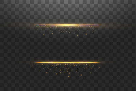 Glow isolated gold transparent effect, lens flare, explosion, glitter, line, sun flash, spark and stars. For illustration template art design, banner for Christmas celebrate, magic flash energy ray. Creative concept Vector set of glow light effect stars bursts with sparkles isolated on black background. For illustration template art design, banner for Christmas celebrate, magic flash energy ray.