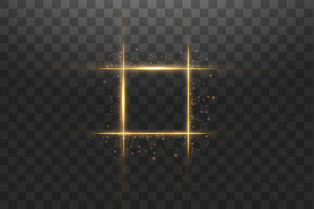 Golden frame with lights effects,Shining luxury banner vector illustration. Glow line golden frame with sparks and spotlight light effects. Shining square banner isolated on black transparent background. Ilustração