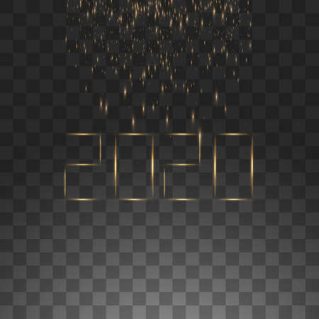 NYE New Year Eve 2020. Happy New Year 2020 winter holiday greeting card with clock isolated on black transparent background. Design template. Party poster, banner or invitation gold glittering stars confetti glitter decoration. Vector illustration.
