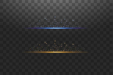 Abstract blue and gold lights lines on transparent background vector illustration. Easy replace use to any image. A bright flash of light on the line. Ilustração