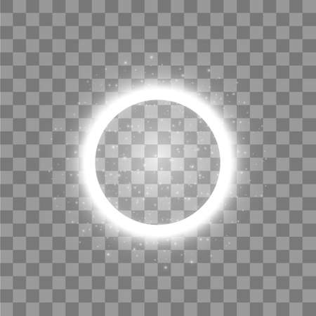 Vector light ring. Round shiny frame with lights dust trail particles isolated on transparent background. Vektoros illusztráció