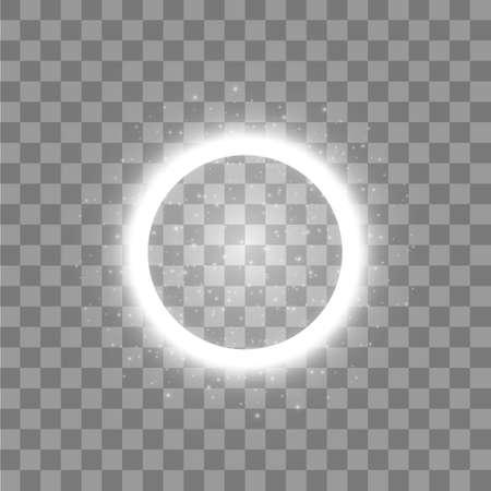 Vektorlichtring. Runder glänzender Rahmen mit Lichtstaubspurpartikeln lokalisiert auf transparentem Hintergrund. Vektorgrafik