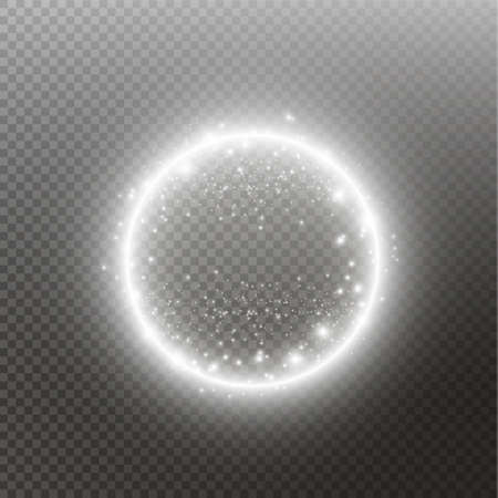 Vector light ring. Round shiny frame with lights dust trail particles isolated on transparent background. Vector Illustratie