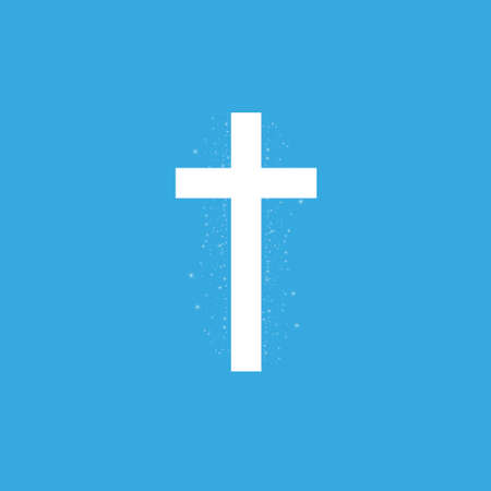 Shining white cross on transparent background. Glowing saint cross. Vector illustration Иллюстрация