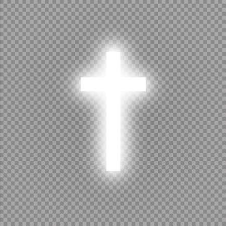 Cruz blanca brillante sobre fondo transparente. Santa cruz resplandeciente. Ilustración vectorial