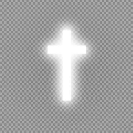 Shining white cross on transparent background. Glowing saint cross. Vector illustration Ilustrace
