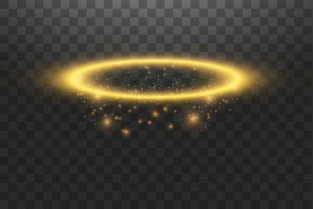 Anillo de ángel halo dorado. Aislado sobre fondo negro transparente, ilustración vectorial. Ilustración de vector