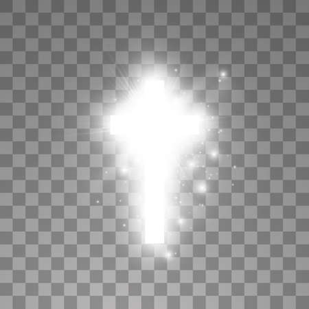 Shining white cross on transparent background. Glowing saint cross. Vector illustration Imagens - 120882026