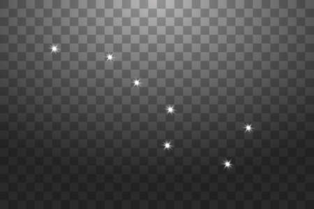 Big Dipper Zodiac Sign of the Beautiful Bright Stars on a transparent background. Vector Illustration