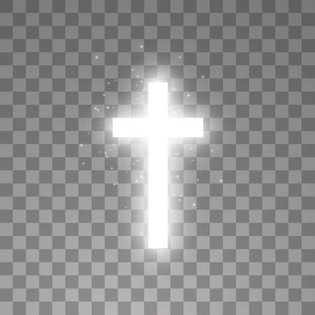 Shining white cross on transparent background. Glowing saint cross. Vector illustration Çizim