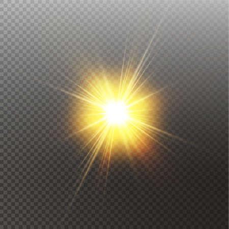 Bright shining sun Isolated on black background. Glow light effect. Vector illustration. 向量圖像