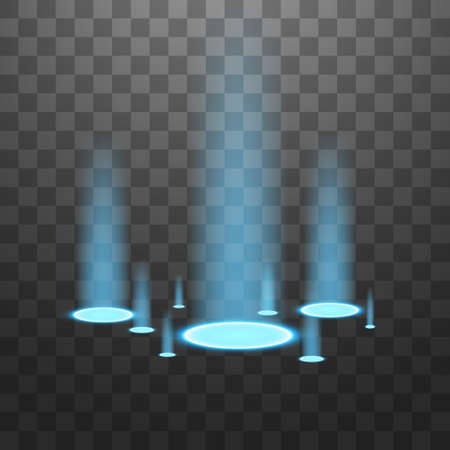 Vector light sources, backlights. Isolated on black transparent background. Vector illustration. Blue candles rays of a night scene with sparks on a transparent background. Empty light effect of the podium. Disco club dancefloor.