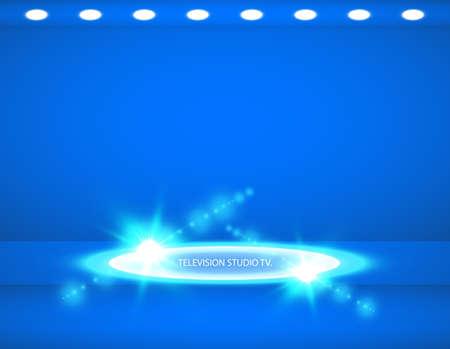 Studio background. Vector empty blue studio for your design, spotlight. Vector graphics 版權商用圖片 - 123003924