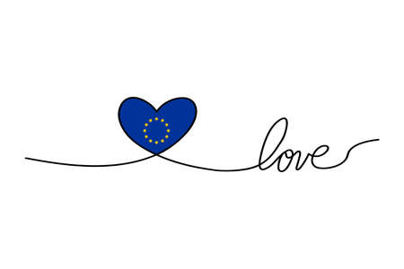 Love with hearts in continuous drawing lines in a flat style in continuous drawing lines and European Union flag. Continuous black line. The work of flat design. Symbol of love and tenderness