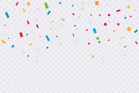 Colorful Confetti On Transparent Background. Celebration Party. Vector Illustration.