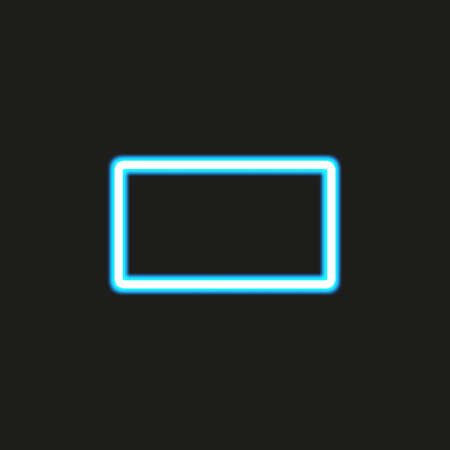 Abstract rectangle blue neon frame, vector illustration, isolated on black background Çizim