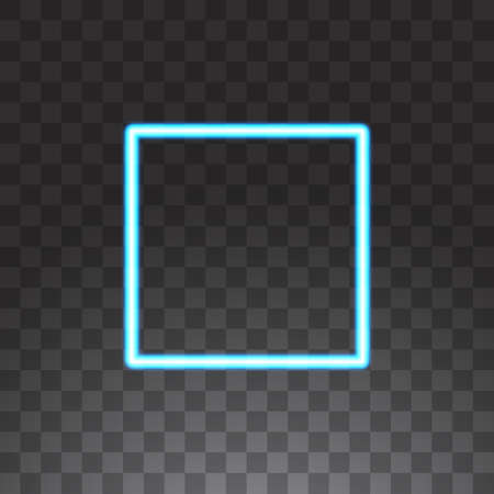 Abstract square blue neon frame, vector illustration, isolated on transparent background